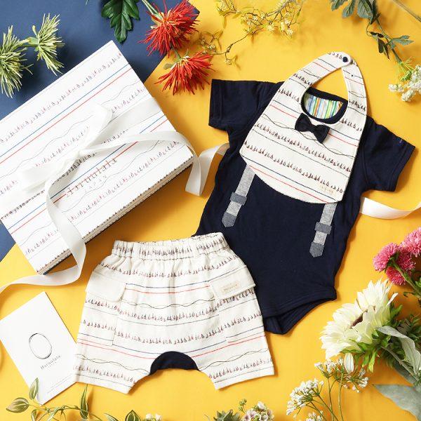 男の子出産祝い3点セット(名入れ可)【スタイ・半袖ロンパース・ショートパンツ】