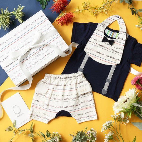 男の子出産祝い3点セット(名入れ可)【スタイ・半袖トップス ・ショートパンツ】