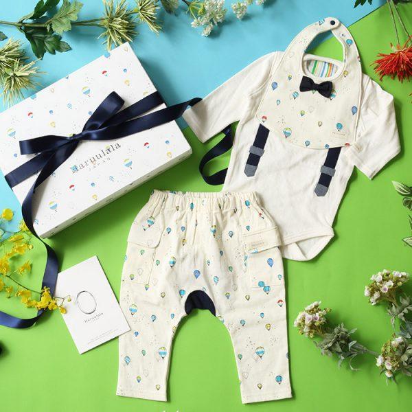 男の子出産祝い3点セット(名入れ可)【スタイ・長袖ロンパース・ロングパンツ】