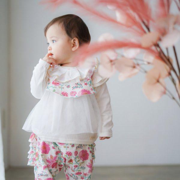 女の子出産祝い2点セット(名入れ可)|カンタービレ【スタイ・ロングパンツ】
