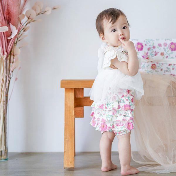 女の子出産祝い2点セット(名入れ可) カンタービレ【スタイ・ショートパンツ】