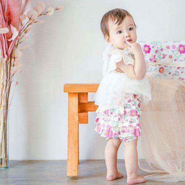 女の子出産祝い2点セット(名入れ可)|カンタービレ【スタイ・ショートパンツ】